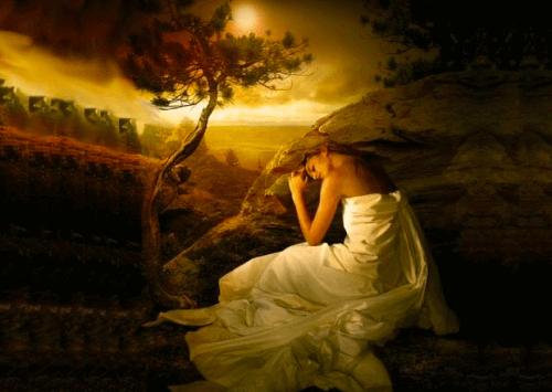 Kvinna i landskap