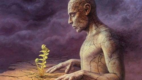 Man med växt