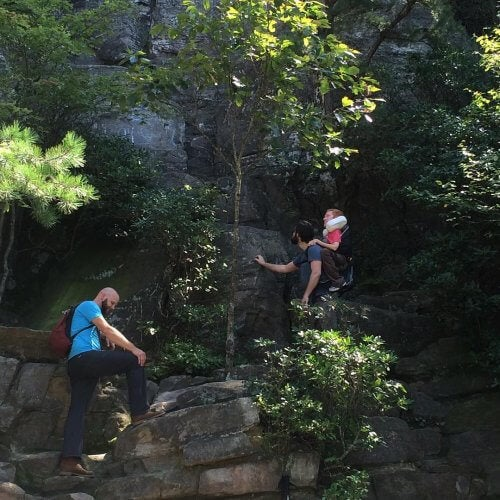 Klättrar i bergen