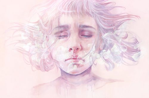 kvinna med stängda ögon