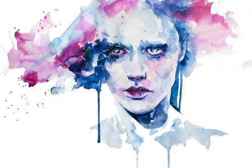 målning av kvinna med inre konflikter