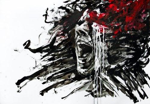Målning av person som skriker