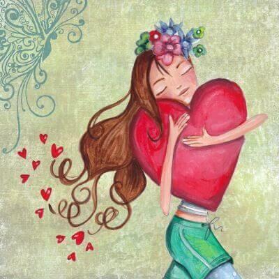 Flicka omfamnar hjärta