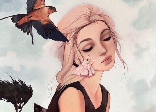Drömmande kvinna