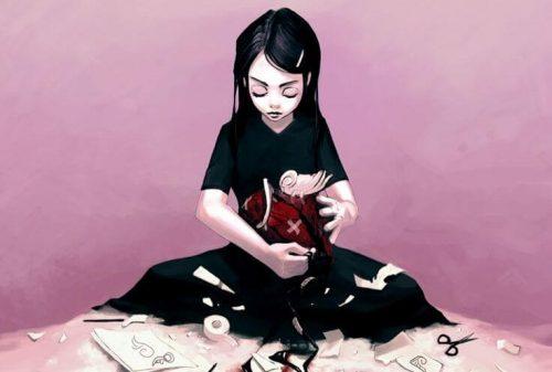 Flicka med sax och tejp