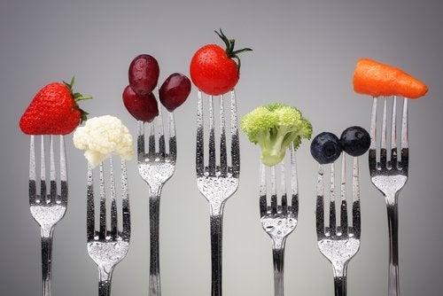 Gafflar med livsmedel