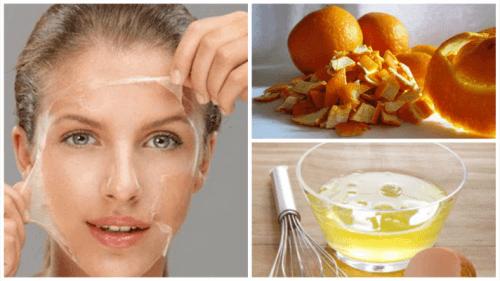 Tona huden med äggvita och apelsinskal