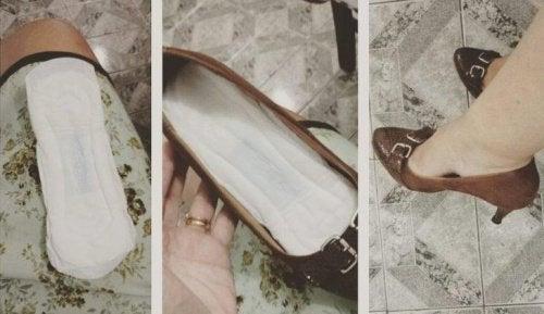 Lägg en binda i skorna