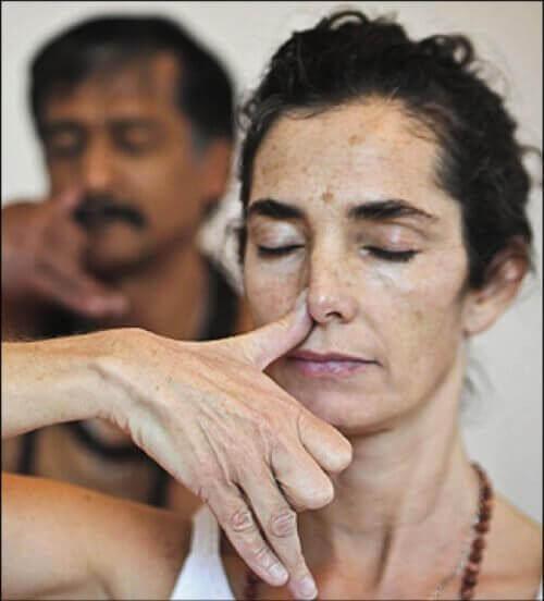 andas genom alternerande näsborre