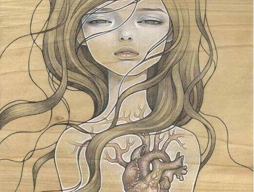 skiss på kvinna med synligt hjärta