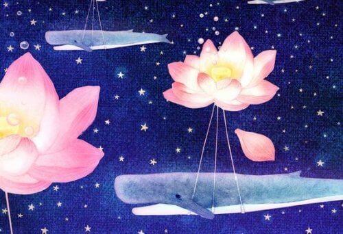 valar i himlen under lotusblommor