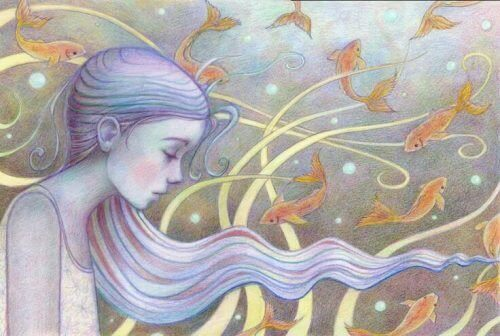 Flicka med blått hår