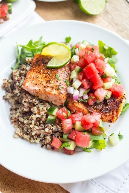 lax, quinoa och vattenmelon