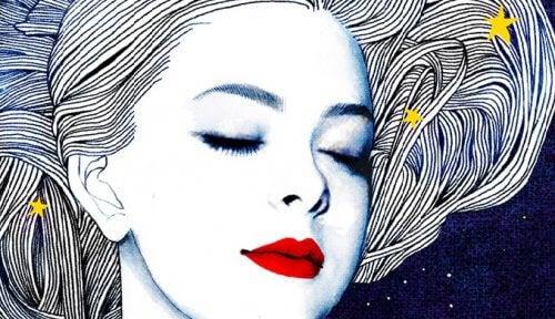 vacker kvinna med stjärnor i håret
