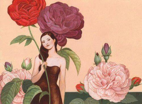 kvinna med blomma i handen