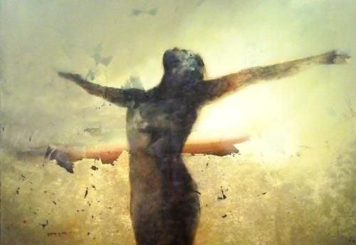 Silhuett av fri kvinna