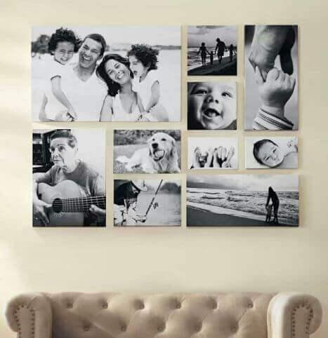 kollage av bilder på väggen