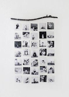 bilder hängandes på en pinne