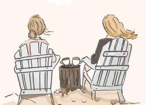 Kvinnlig vänskap över kaffe