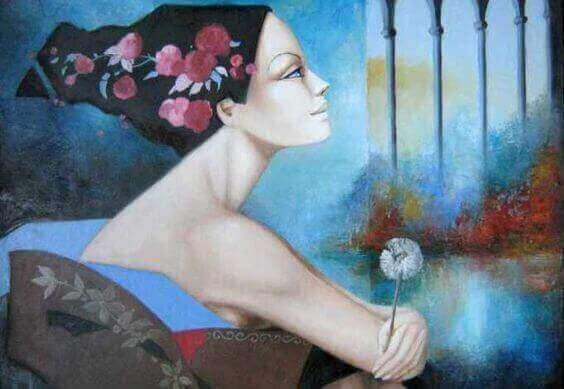 Målad kvinna med blomma