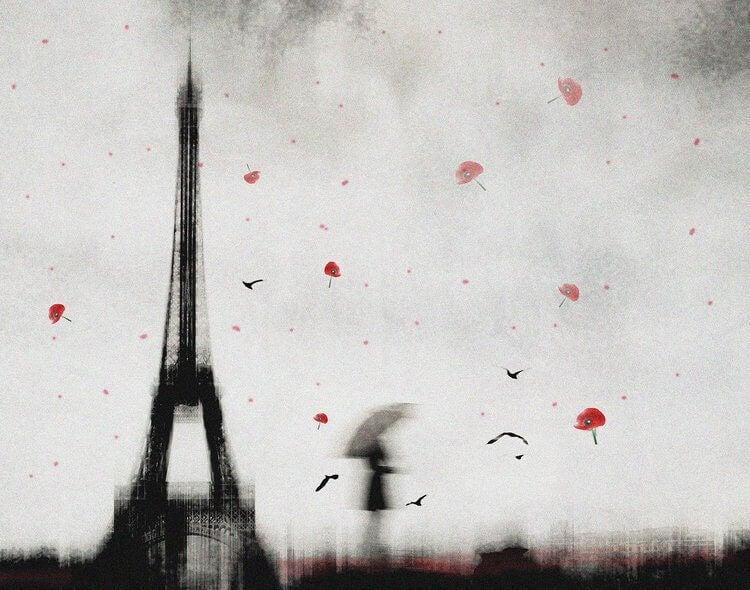 Skrämmande målning av kvinna vid Eiffeltornet