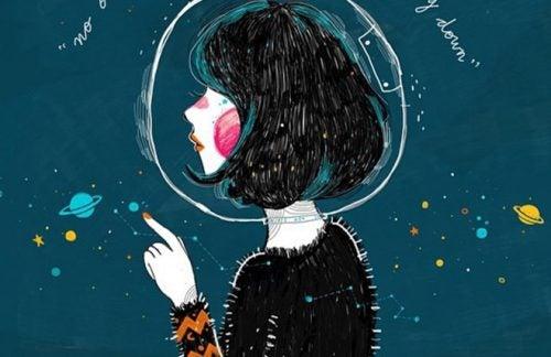 Flicka i rymden