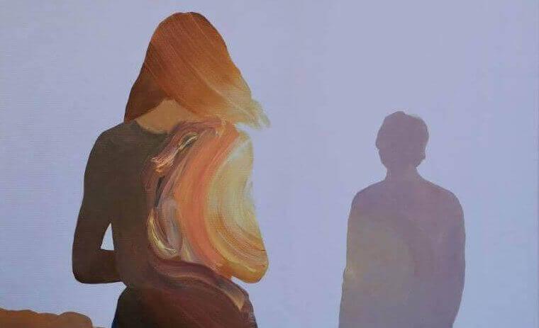 målning av kvinna och man i siluett
