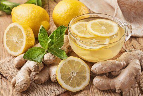 Citron och ingefära te