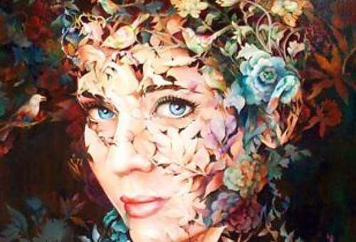 Kvinnas ansikte av blommor