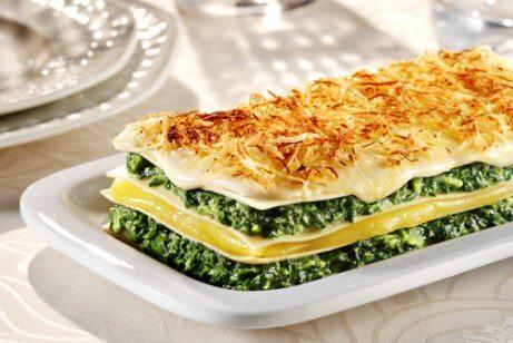 Spenatrecept på lasagne