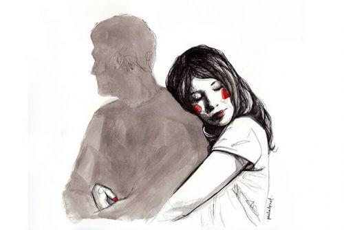 Kvinna som kramar skugga