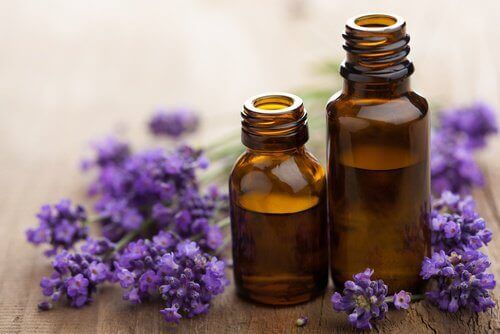 Lavendelolja i flaskor