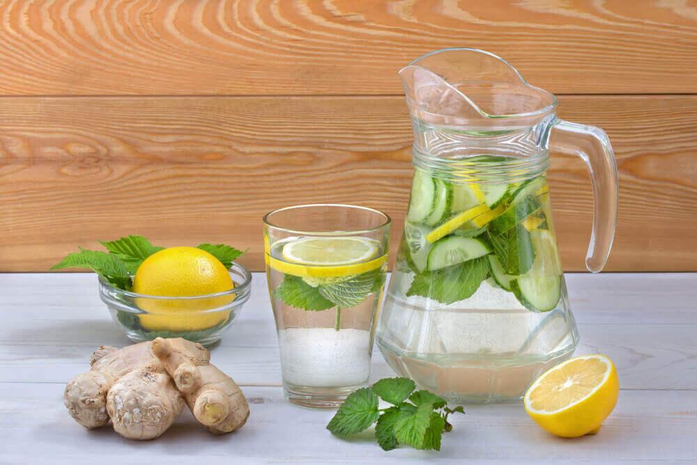 Drick detoxvatten med färsk frukt