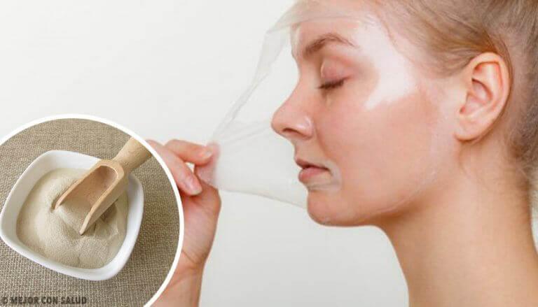 Fyra ansiktsmasker med gelatin för att återuppliva huden