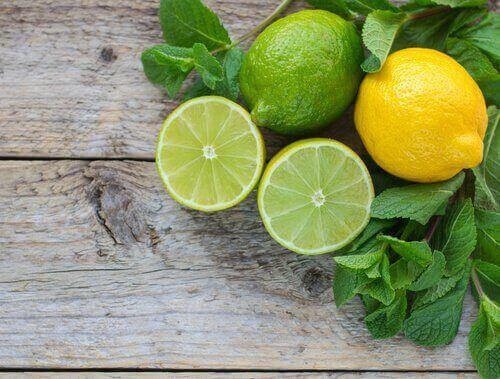 Skivade citroner på bord