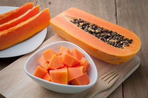 Skivad papaya