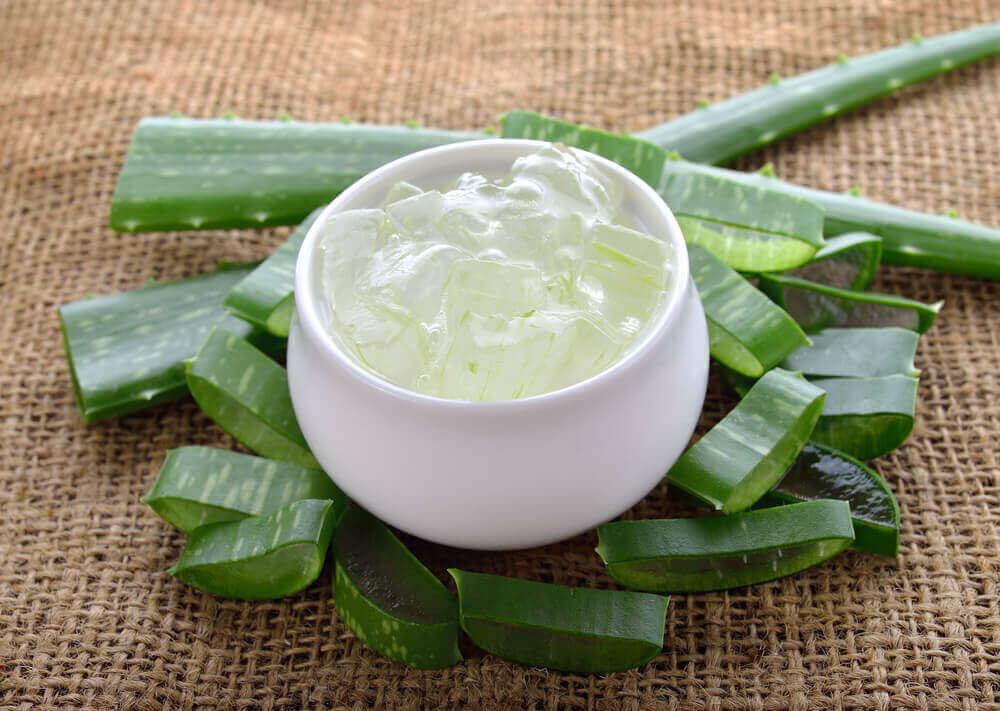 Aloe ver gel i vit skål