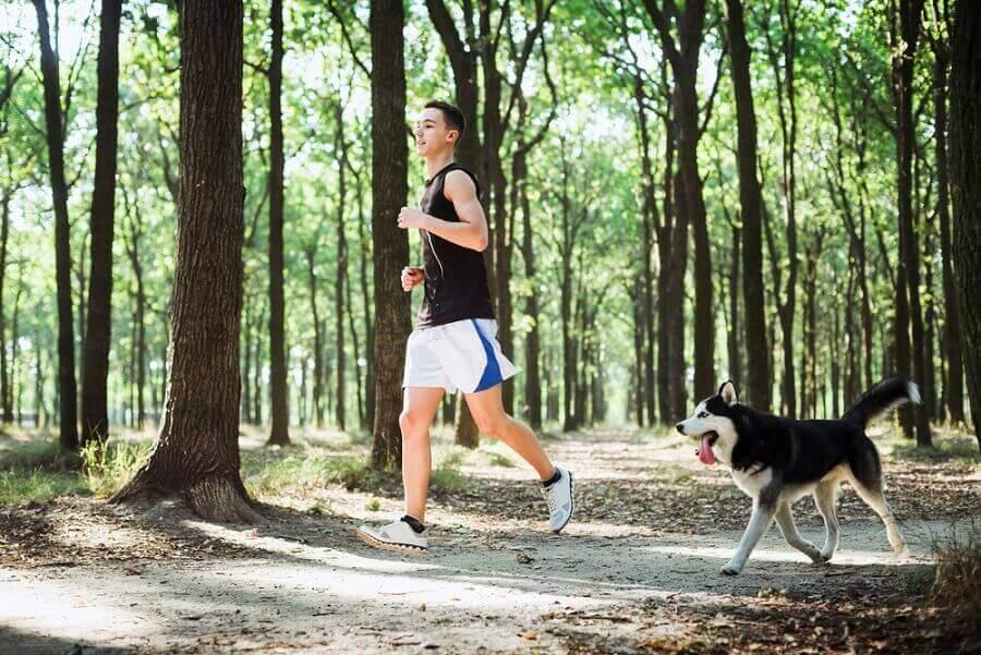 Man som joggar med hund