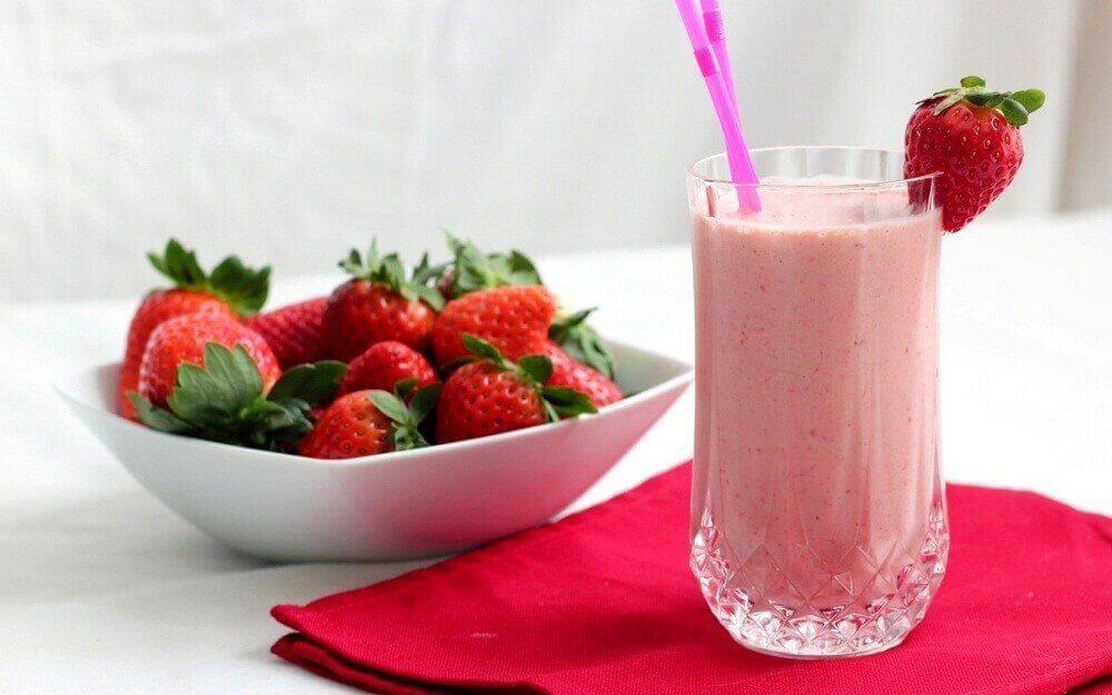 Smoothie på jordgubbar