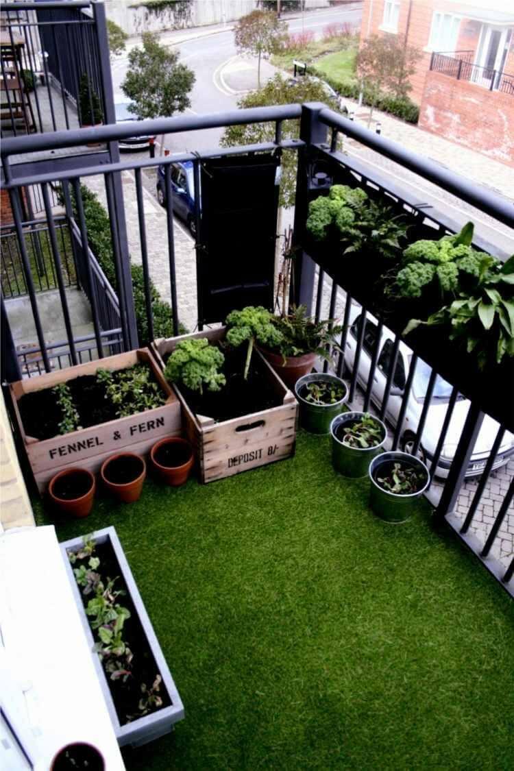Miniträdgård på balkongen i stadsområde.