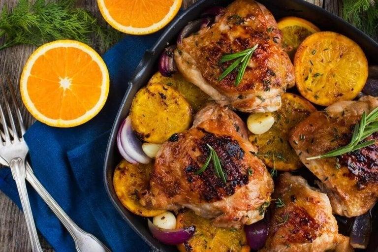 Läcker ugnsbakad apelsin- och rosmarinkyckling