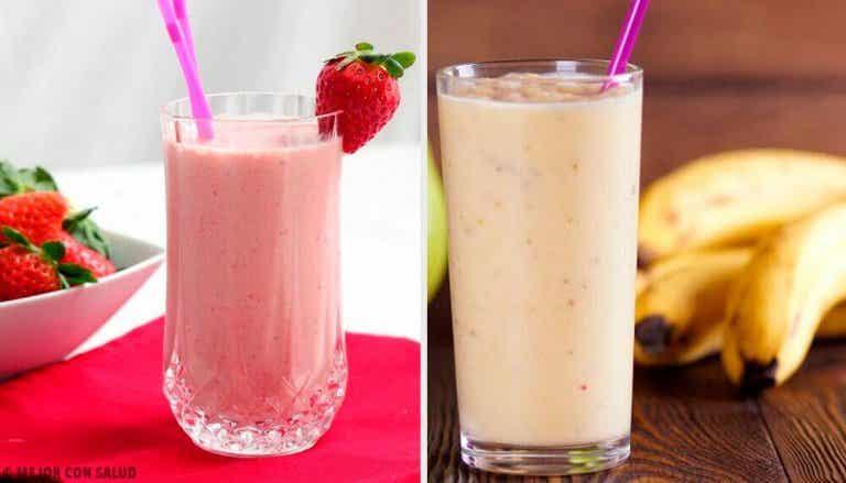 5 smoothies med jordgubbar och banan