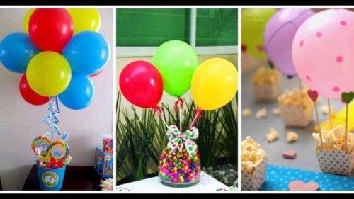 Ballonger som bordsuppsats.