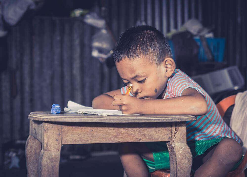 Studerande pojke