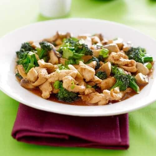 Tallrik med kyckling och broccoli.