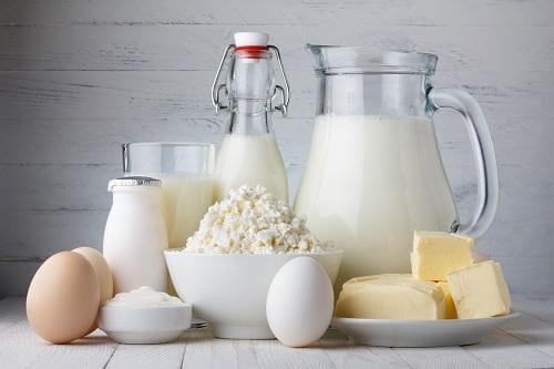 Mjölk och ägg.