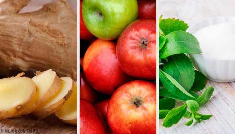 Dryck med stevia, ingefära och äpple