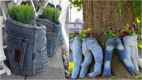 återvinna gamla jeans kruka