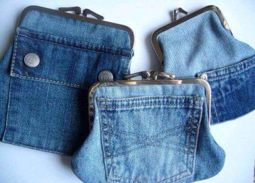 återvinna gamla jeans plånbok