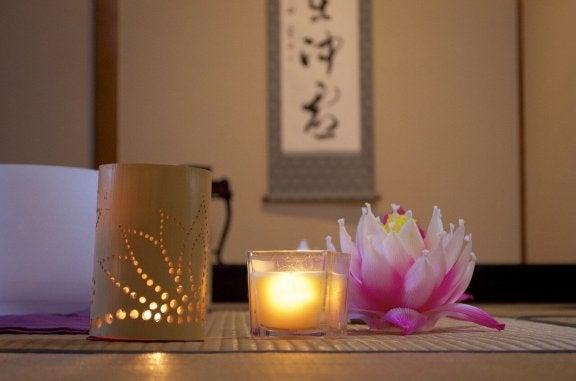 Japansk dekoration i sovrummet.